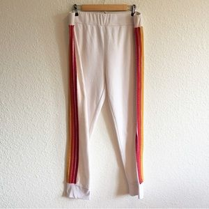 Aviator Nation Rainbow Striped Sweatpants White